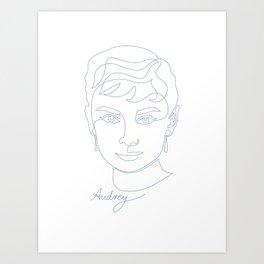 Audrey Hepburn Oneline Blue Art Print