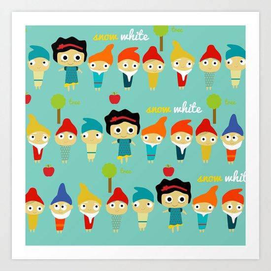 Snow White and the 7 dwarfs Art Print