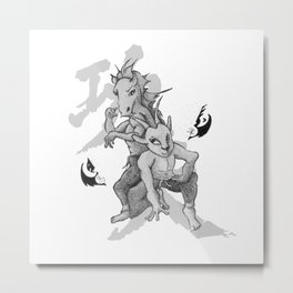 KungFu Zodiac - Horse and Goat Metal Print