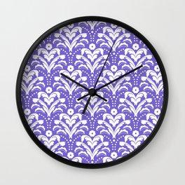 Art Deco Damask Purple and White Wall Clock