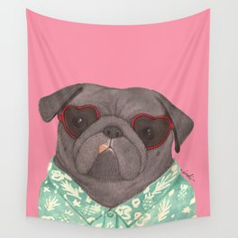 Hawaiian Pug Wall Tapestry