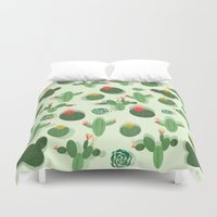 succulent Duvet Covers featuring Succulent by Kakel
