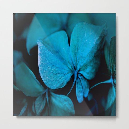 Shiny turquoise petals on a black background - #society6 #buyart Metal Print