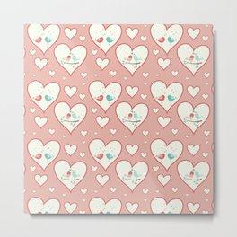 Vintage chic pastel pink romantic love birds hearts pattern Metal Print