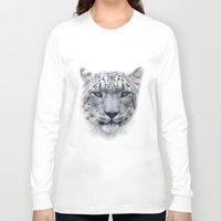 snow leopard Long Sleeve T-shirts featuring snow leopard by ulas okuyucu