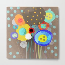 Blue Polka Dots - Ruth Fitta-Schulz Watercolour Art 2017 Metal Print