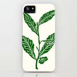 Green Tea Leaf Block Print iPhone Case