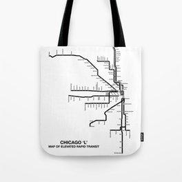 Chicago CTA Map, Chicago Map Art, CTA Art, Chicago Wall Art, Chicago Art, L Train, Art Print Tote Bag