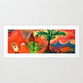 Dusty Fox Prowls Among Tangerine Hills and Sea Art Print
