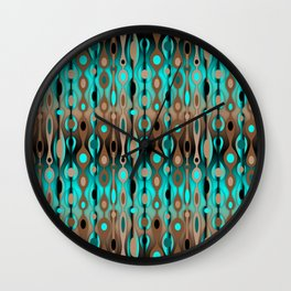 Retro Bohemian Gypsy Beaded Dangles // Horizontal Gradient Chocolate Brown, Turquoise, Teal Wall Clock
