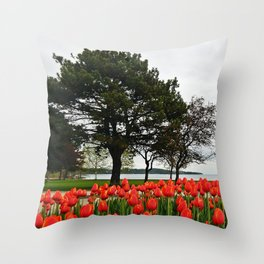 Tulips and the Trees by the Lake Throw Pillow