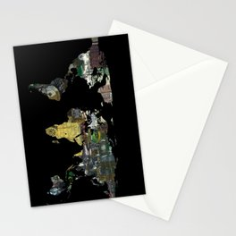 World Map Silhouette - A Busy World Painting Stationery Cards