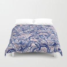 Vinage Lace Watercolor Blue Blush Duvet Cover