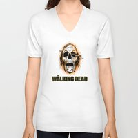 the walking dead V-neck T-shirts featuring Walking Dead by ezmaya