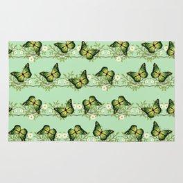 Green butterflies pattern Rug