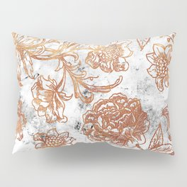 Golden flowers and foliage on white scratched marble Pillow Sham