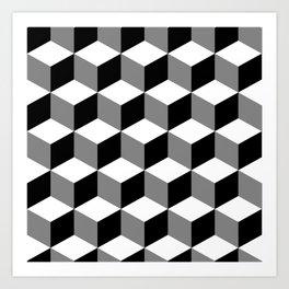 Cube Pattern Black White Grey Art Print