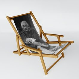Albert Einstein in Fuzzy Slippers Classic Black and White Satirical Photography - Photographs Sling Chair