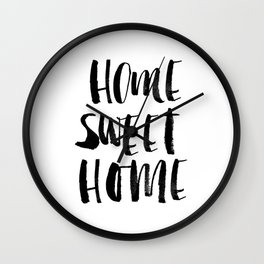 Home Sweet Home black and white monochrome typography poster design home decor bedroom wall art Wall Clock