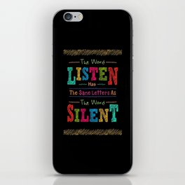 Lab No. 4 The Word Listen Alfred Brendel Motivational Quote iPhone Skin
