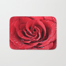 Red Swirl Rose Bath Mat