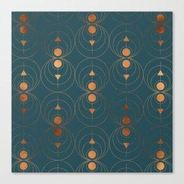 Copper Art Deco on Emerald  Canvas Print