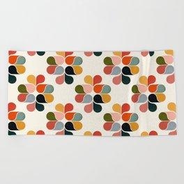 Retro geometry pattern Beach Towel