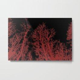 Creepy trees silhouette, red on black, minimal, minimalist, minimalism Metal Print