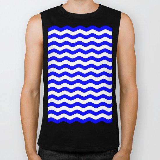 Wavy Stripes (Blue/White) Biker Tank