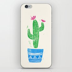 Linocut Cactus #2 in a pot iPhone Skin