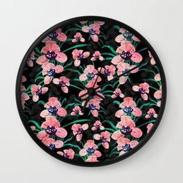 Pretty Pink Orchid Flower Paint Black design Wall Clock