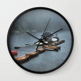 Foggy Morning At The Lake Wall Clock