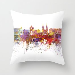 Strasbourg skyline in watercolor background Throw Pillow