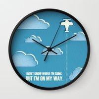 sagan Wall Clocks featuring On My Way by Katherine Paulin