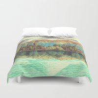 orange Duvet Covers featuring The Unknown Hills in Kamakura by Kijiermono