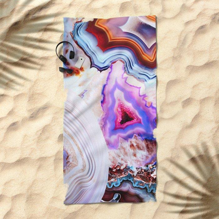 Agate, a vivid Metamorphic rock on Fire Beach Towel