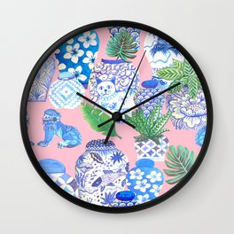 Chinoiserie Chic, Chinese ginger jars on pale pink Wall Clock