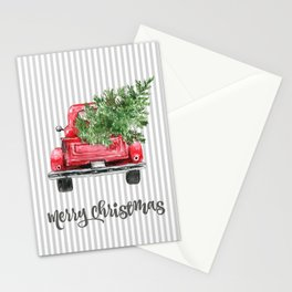Red Truck With Christmas Tree Stationery Cards