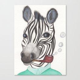 Spencer the Zebra, blowing bubbles Canvas Print