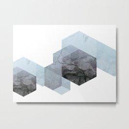 Neutral Marble Geometry Metal Print