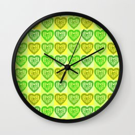 Skull and Bones Valentine in mint and lime Wall Clock