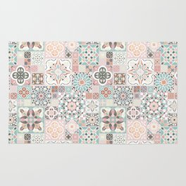 Moroccan Tile Pattern with Rose Gold Rug