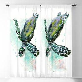 Sea Turtle, underwater scene,  green turquoise beach house design Blackout Curtain