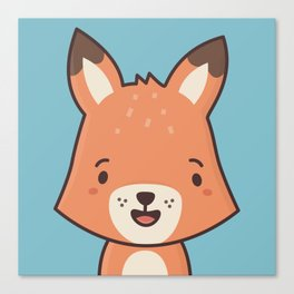 Kawaii Cute Red Fox Canvas Print