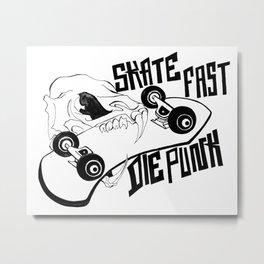 Rat Skull / Skate Fast / Die Punk Metal Print