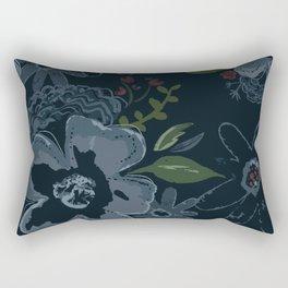 Moody Blues Floral Pattern Rectangular Pillow