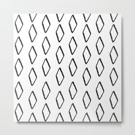 mudcloth 13 minimal textured black and white pattern home decor minimalist beach Metal Print