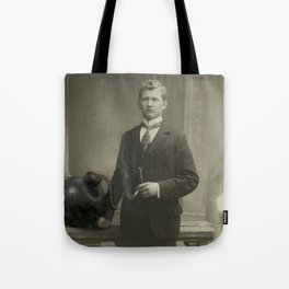 Altered Cabinet Photo - Hand Painted Vintage Photo  Tote Bag