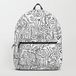Graffiti Black and White Pattern Doodle Hand Designed Scan Backpack