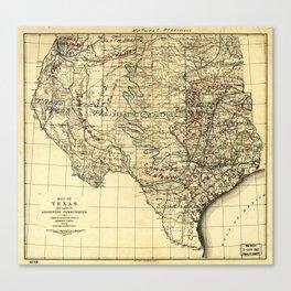 Natural Provinces, Map of Texas (1899) Canvas Print